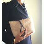 palest pink shearling pouch